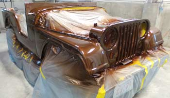 Jeep CJ % in paint booth