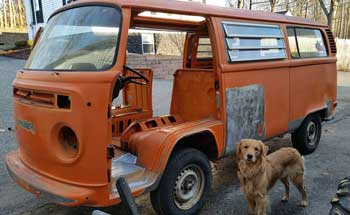VW camper being restored