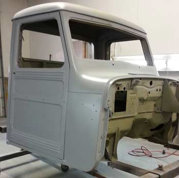 Willys Cab in paint booth